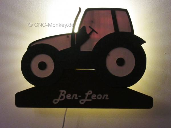 Wandlampe traktor mit name kinderlampe schlummerlicht for Traktor lampe kinderzimmer